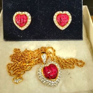 Swarovski quilted heart necklace and earrings